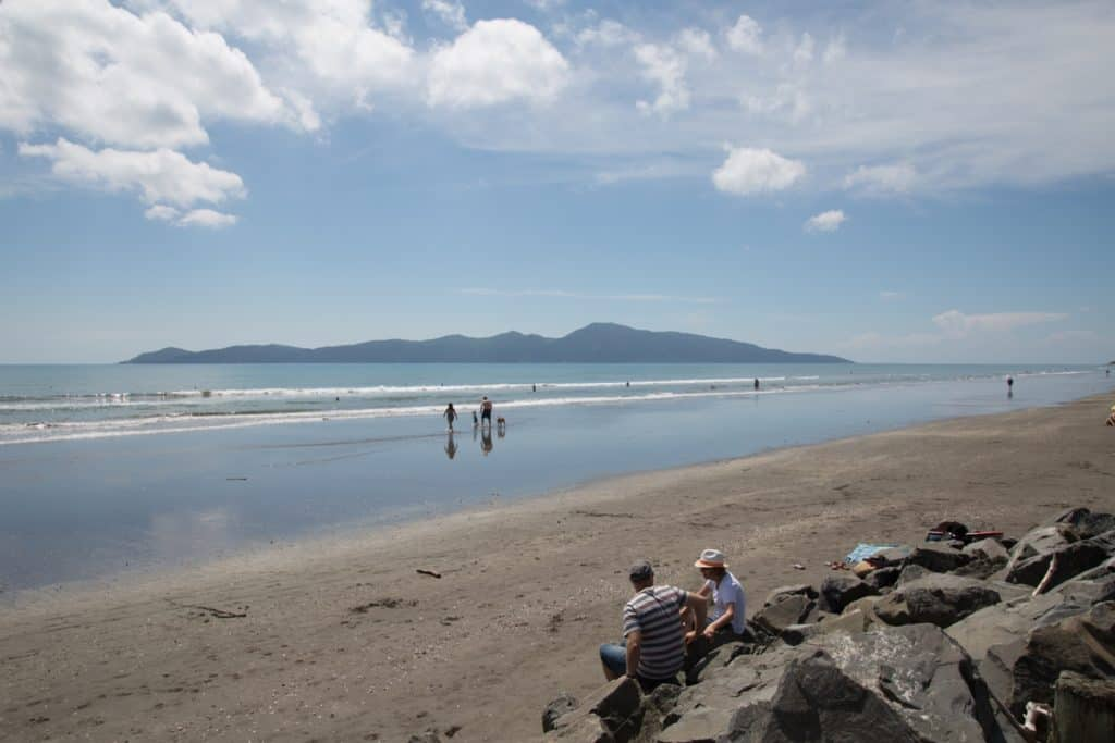 Kapiti Coast beach image with view to Kapiti island.
